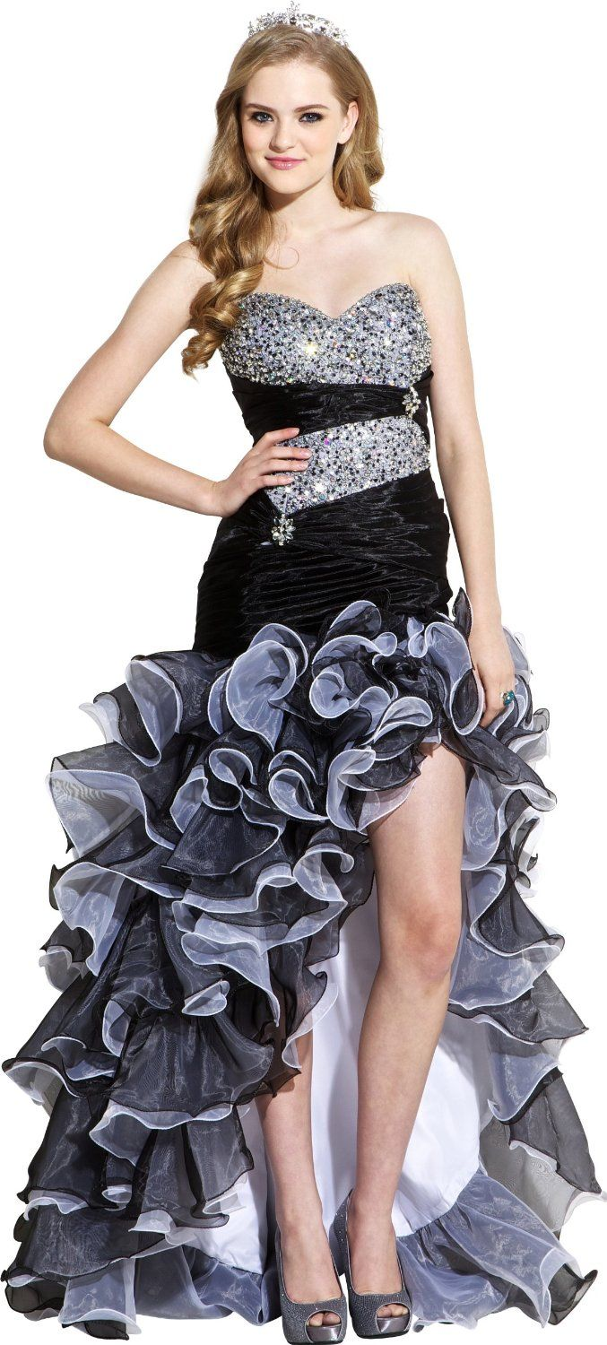 2019 year for girls- White and black high low prom dress