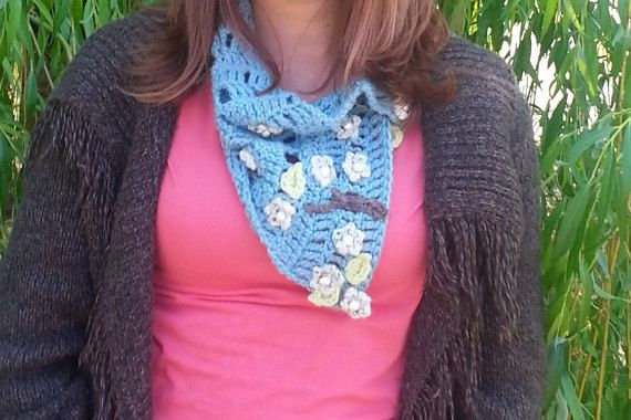 Blue & Cream Women's Flowered Scarf Handmade w <3 by Lady Lynelle @ Etsy!! Come on by and see what we have for YOU!!!