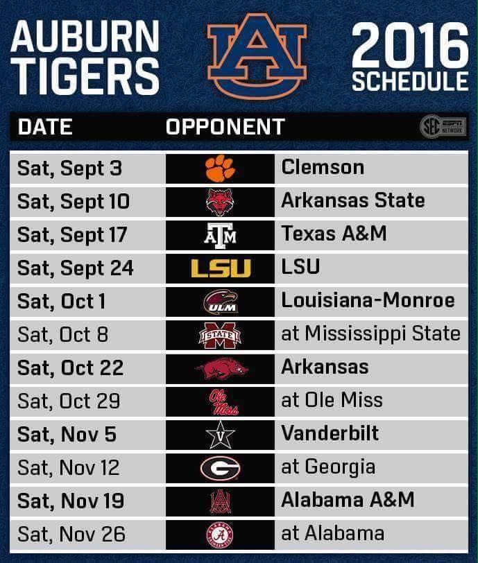 2016 Schedule Bleeding Orange And Blue Auburn Football