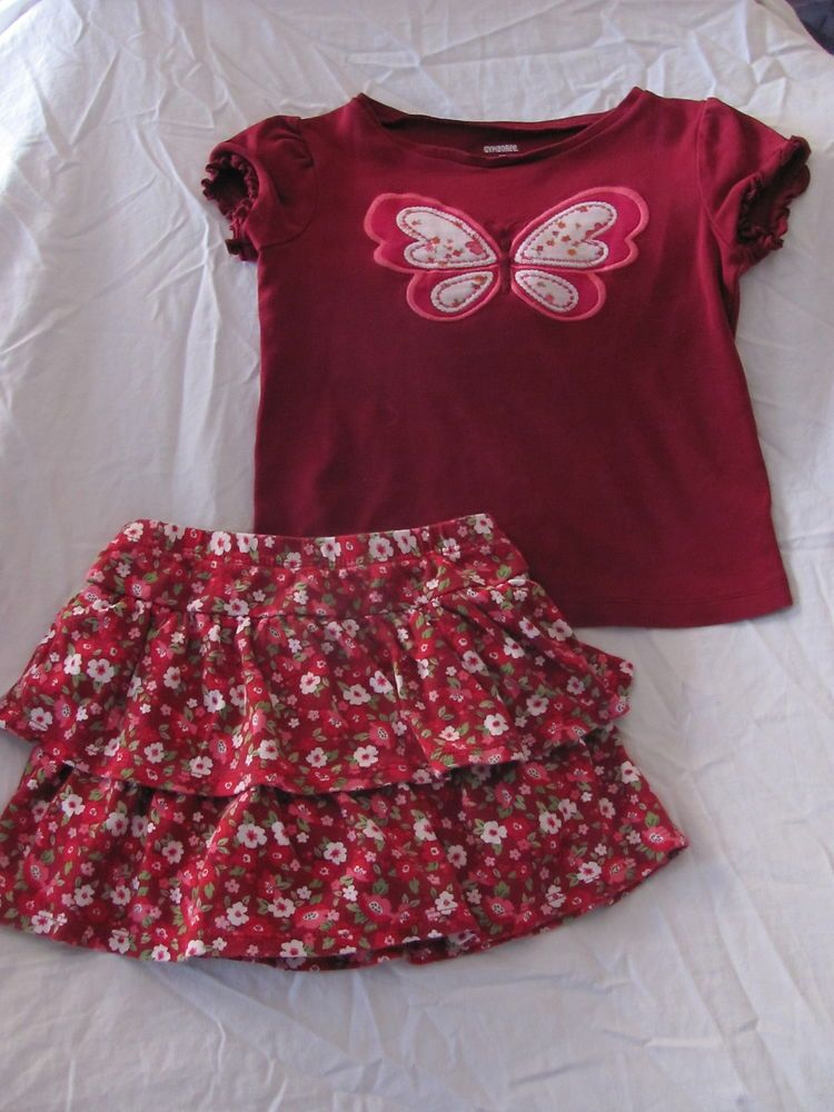 Gymboree Red Floral Butterfly Top  Knit Ruffled Skirt Cozy Owl Butterfly Girl 4T
