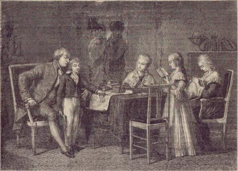 """A depiction of King Louis XVI and family entitled """"The Pastimes of the French Royal Family in the Temple"""" by H de la Charlerie"""
