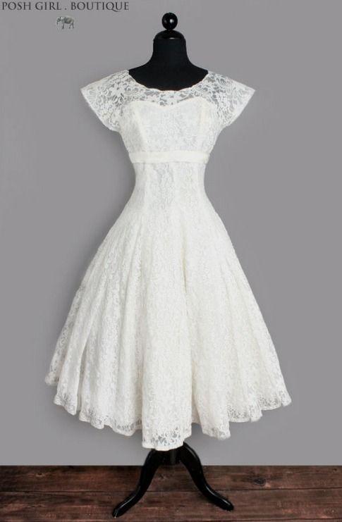 1950\'s White Lace Tea Length Audrey Hepburn Wedding Dress ...