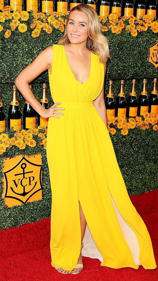 bbdec02692 Conrad Lovely Bright Yellow Asymmetrical Celebrity Dresses Sexy Deep V-Neck  Sleeveless Side Split Evening Dress