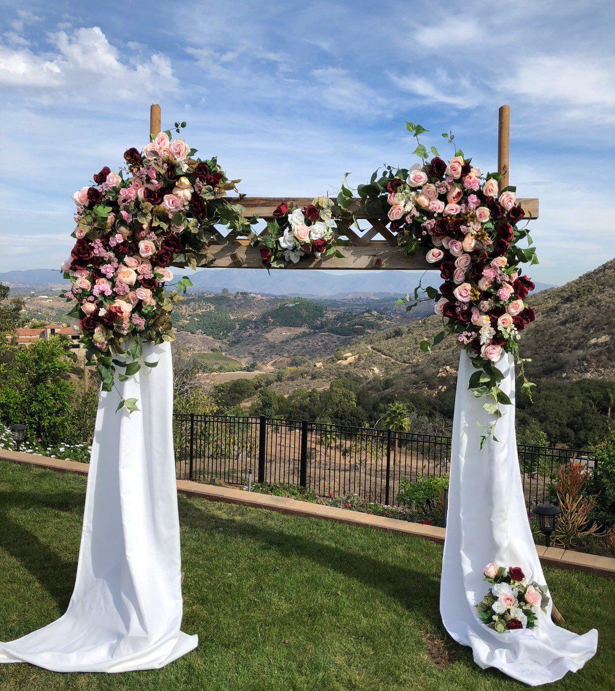 Burgundy Blush Wedding Ceremony Arch, Lux Burgundy Wedding
