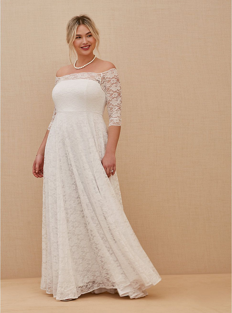 White Lace Off Shoulder ALine Wedding Dress in 2020 A