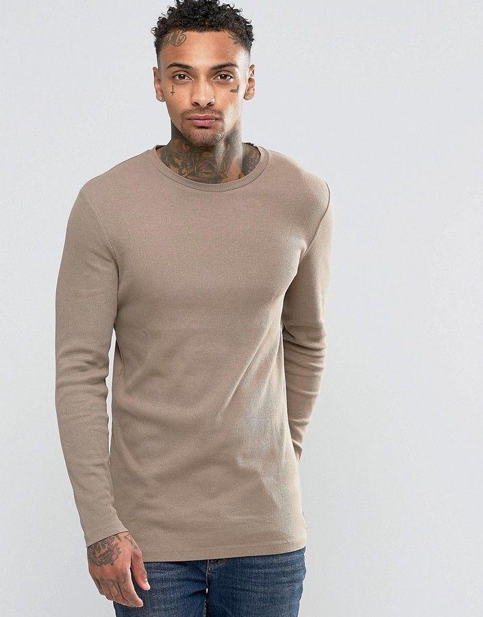 Asos Rib Longline Muscle Long Sleeve T-Shirt In Beige