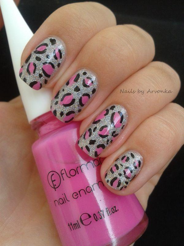 Pink Silver Leopard Nail Art Uñas Uñas Artísticas