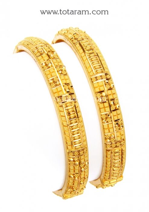 22K Gold Kada Set of 2 1 Pair Totaram Jewelers Buy Indian Gold