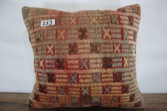 Vintage Turkish Kilim Pillow 16x18 Decorative Kilim Pillow Cover Cushion Cover,Tribal Pillow,Embroid