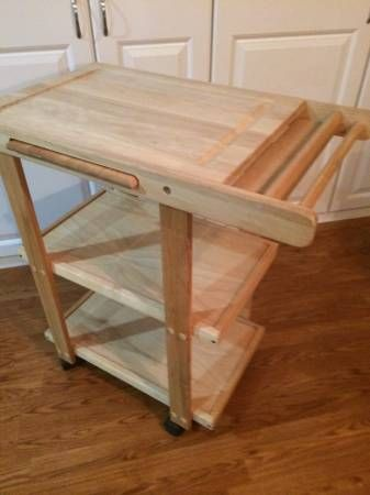 Wooden rolling kitchen cart cutting board