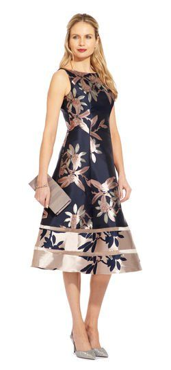 Metallic Floral Fit And Flare Midi Dress Fit Flare