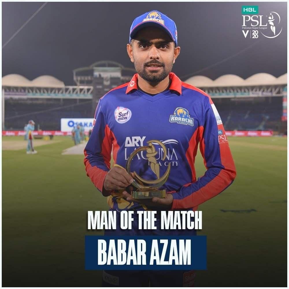 Babar Azam Man Of The Match 2nd Psl Match In 2020 Man Of The Match Cricket Match Cricket Teams