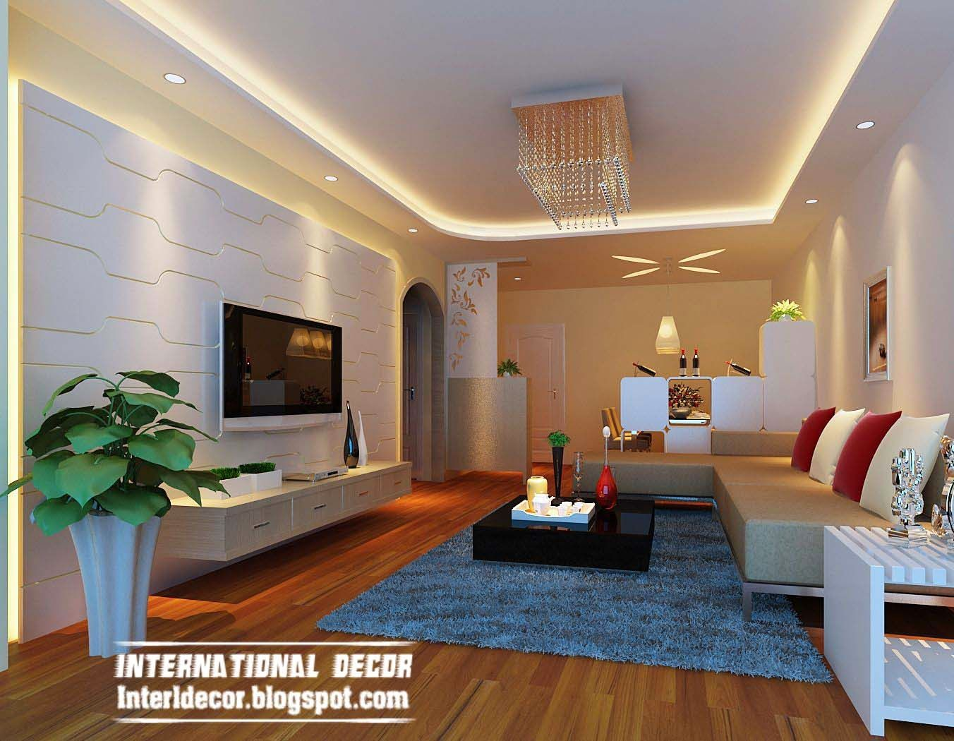 Suspended ceiling pop design lighting for living room for Wall ceiling pop designs