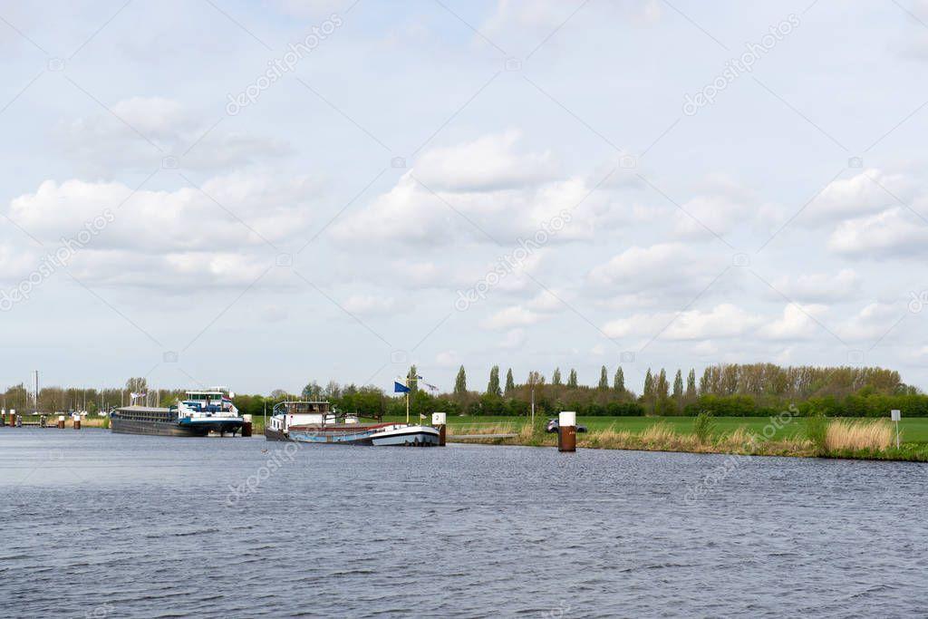 River Eem Boats Dutch Polder Arkemheen - Stock Photo ,