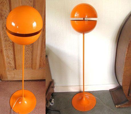 Ebay Watch Vintage Orange Space Age Floor Lamp Retro To Go Atomic Decor Vintage Lamps Vintage Interiors