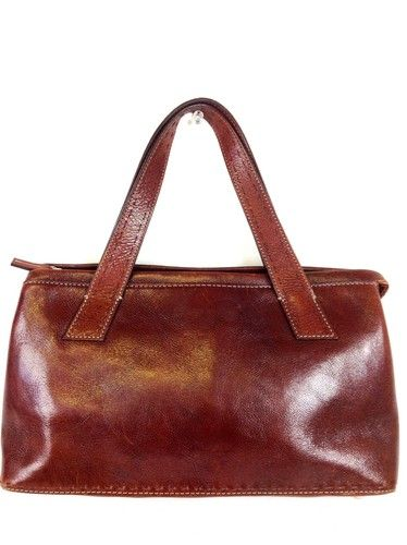Fossil Brown Classic 3 Pocket  leather Zip Up Handbag Purse Satchel M Nice | eBay