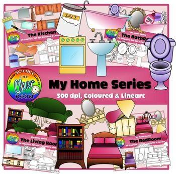 Home Clipart I (Living Room, Bedroom, Bathroom, Kitchen Furnitures ...
