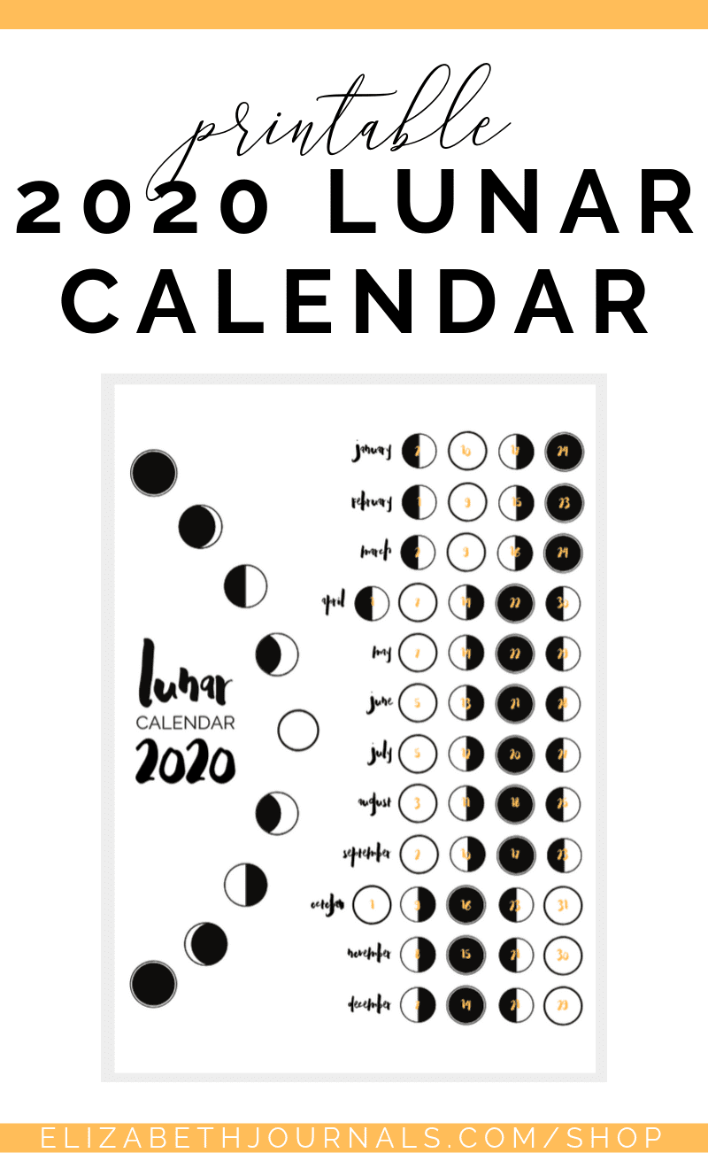 Photo of 2020 Lunar Calendar Bullet Journal Page | Digital & Printable | ElizabethJournals