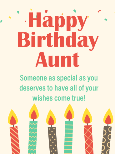 Your Wishes Come True Happy Birthday Card For Aunt Birthday Greeting Cards By Davia Birthday Card For Aunt Happy Birthday Aunt Aunt Birthday