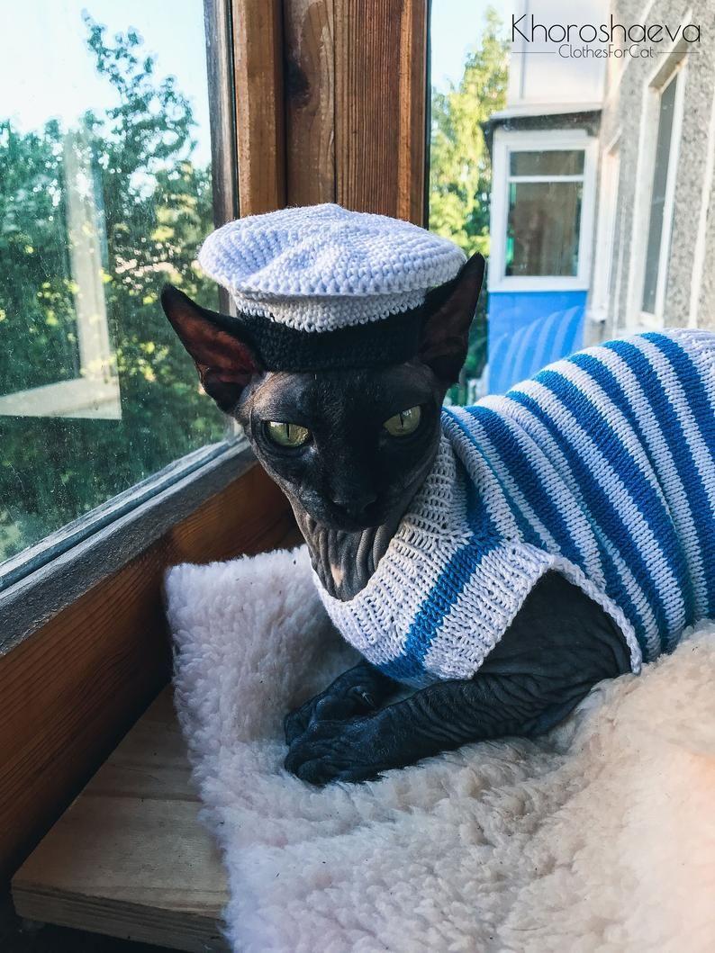 Cat Sailor Hat Crochet Pattern Pdf Small Sailor Hat Accessory For Sphynx Crochet Hat Pattern Sailor Hat Crochet Cat Hat