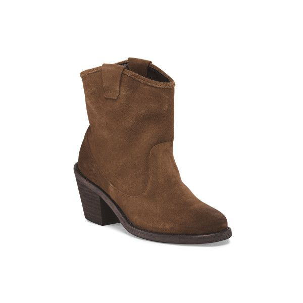 Leather Elmont Pull On Bootie ($60) ❤ liked on Polyvore featuring shoes, boots, ankle booties, leather boots, faux leather boots, leather ankle boots, slip on leather boots and leather ankle booties