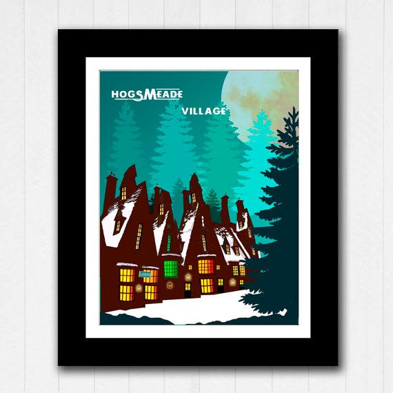 Hogsmeade Village Harry Potter Minimalist Poster  by RoseandElaine