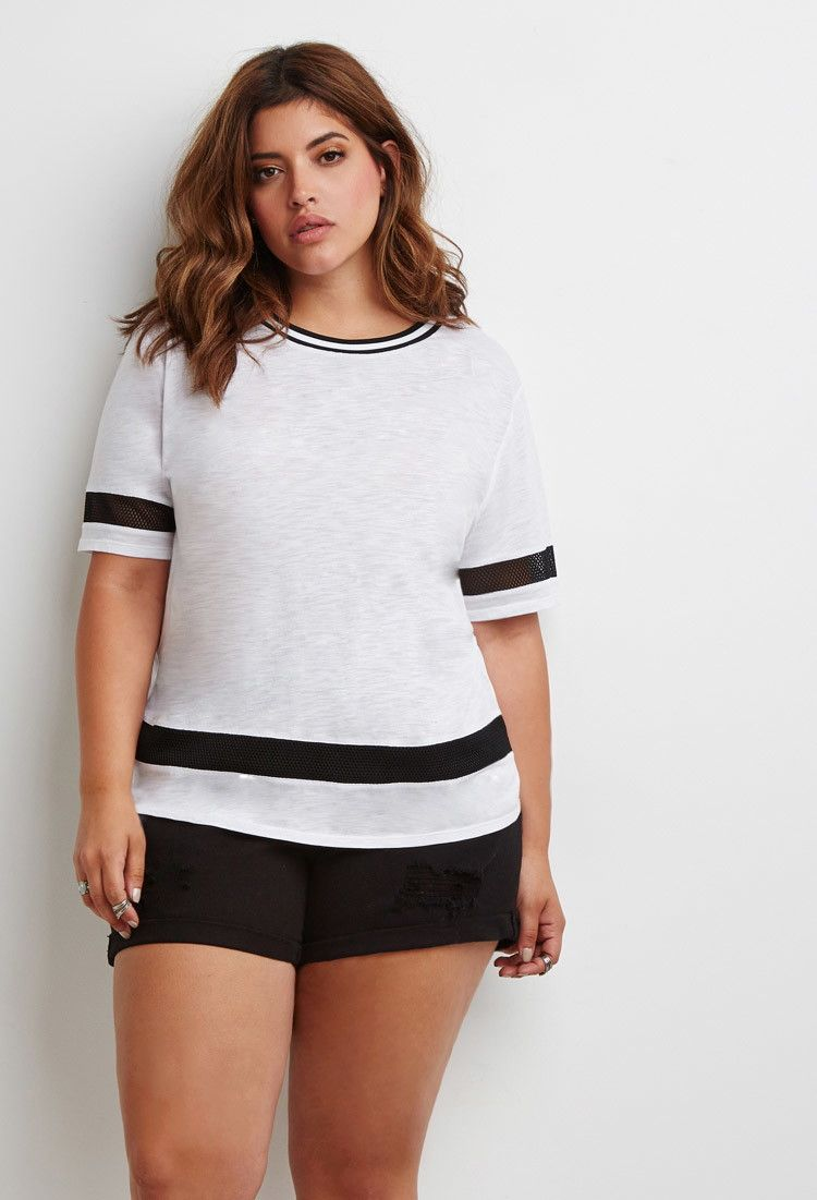 Find other super deals and ideas for Thanksgiving gifts in Spycob app on Google Play forever21 Plus Size Mesh-Paneled Tee save -56% today Final Sale Forever 21+ - Add a touch of athletic-inspired style to your look with this short-sleeved tee. It features sheer mesh paneling and a varsity-striped round neckline. It's borrowed from the boys done right. Plus size
