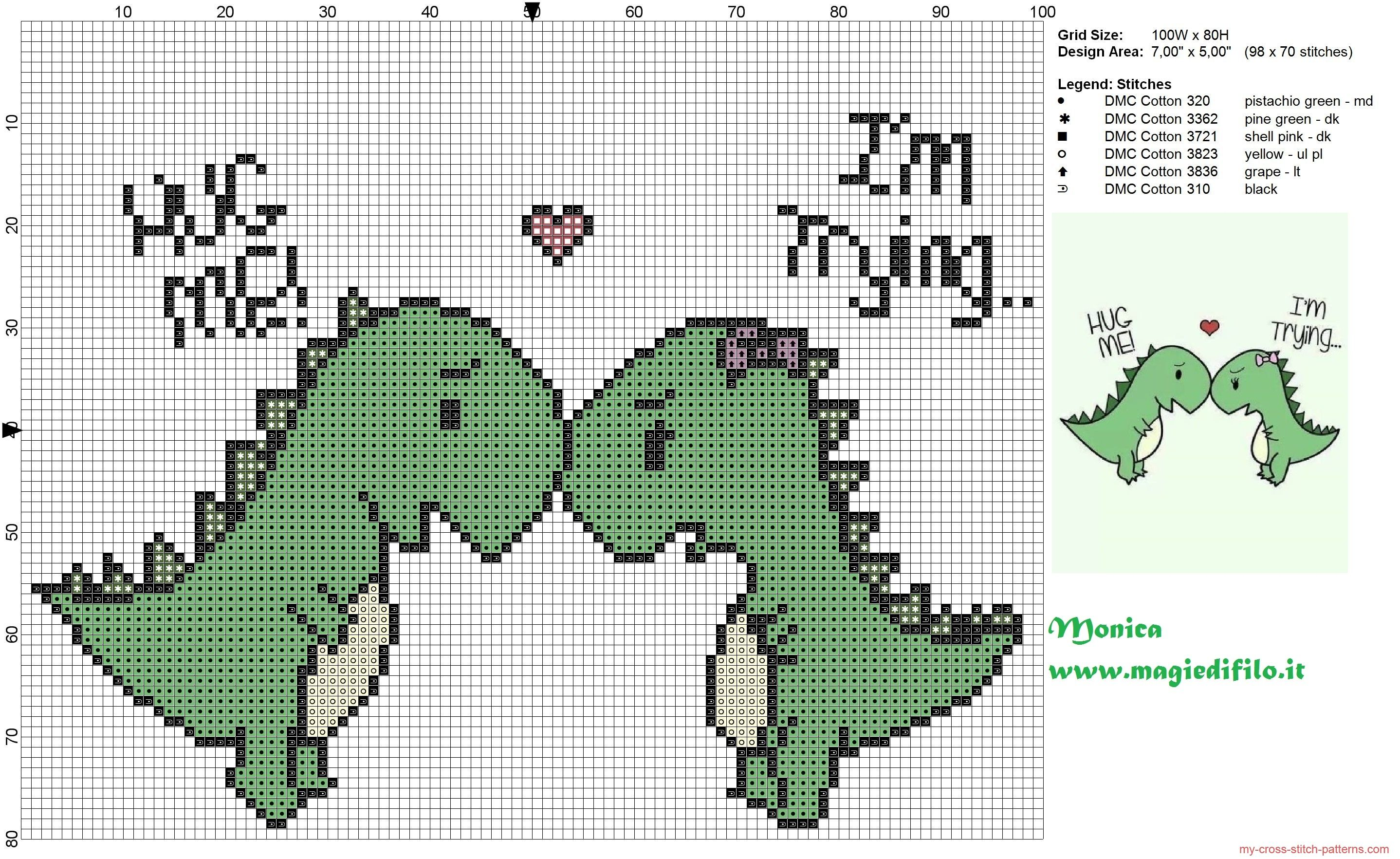 2 lovely dinosaurs cross stitch pattern | Cross Stitch | 자수 ...