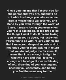 Heartfelt Quotes: 'I love you' means that I accept you for the person that you are..