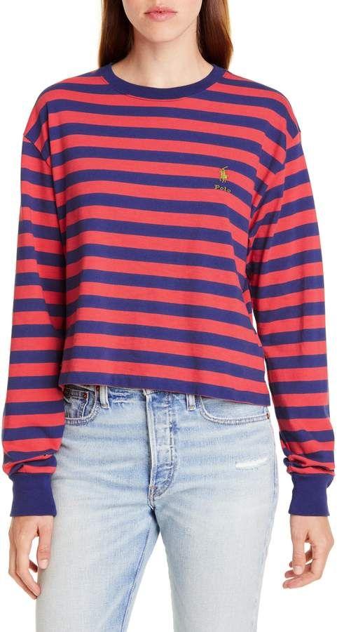 Women's Polo Ralph Lauren Stripe Crop Tee, Size X-Small - Blue #ralphlaurenwomensclothing