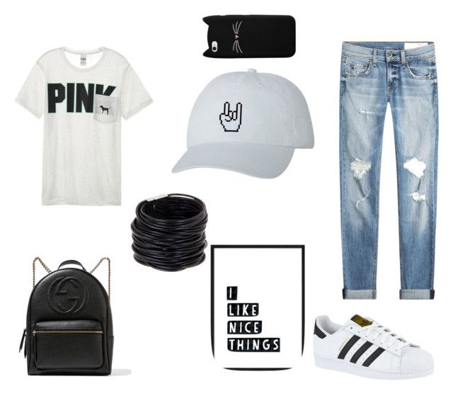 """""""Untitled #27"""" by lolidontcare on Polyvore featuring Victoria's Secret, rag & bone, adidas, Saachi and Gucci"""