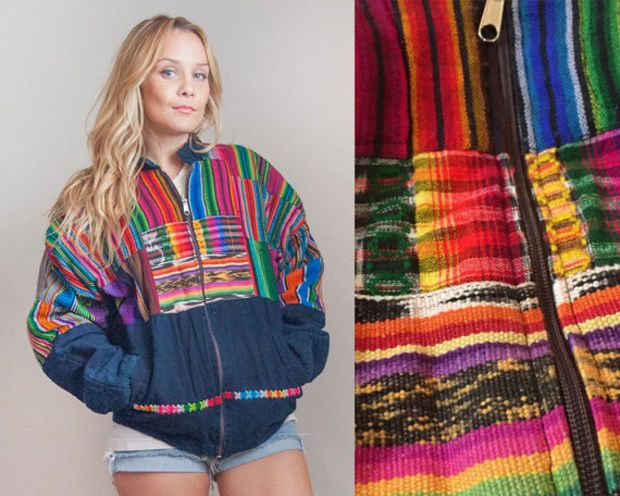 a997a2baed30 80s Colorful Southwestern Mexican Serape Jacket - Mens Medium or Womens  Large XL | Womens Bright Ethnic Indian Textile Hippie Bomber Jacket