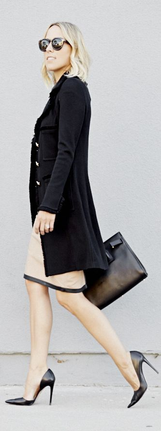 Black Knit Military Inspired Coat by Damsel In Dior