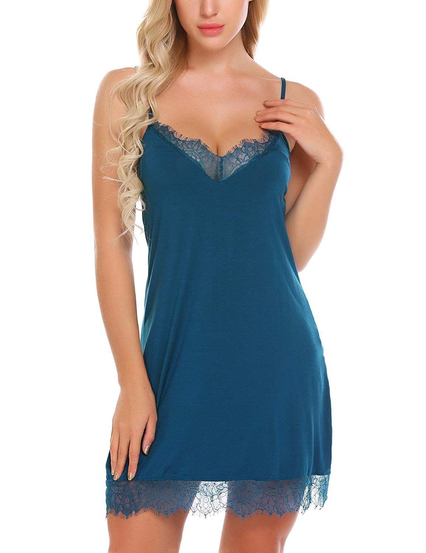 b9adb118f7 Skylin Women Strap Sexy Chemise Lace Nightgown Sleepwear Slip Sleeping Dress  Lingerie S-XXL