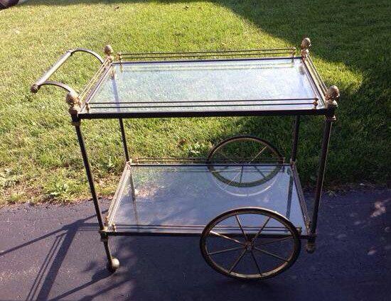 Mid Century Pewter and Brass Bar Cart by SoignebyEG on Etsy, $225.00