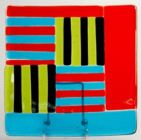 """Mimi Boston - fused glass plate, 8""""x8"""" - $165. The Museum Store is a handcrafted gallery style space representing local and regional artists."""
