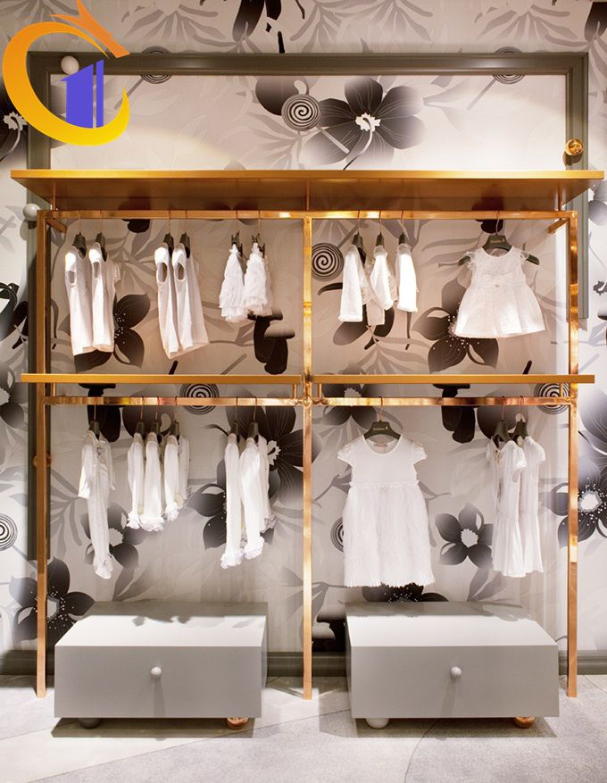 Stainless Steel Display Rack In Clothes Shop Shopping Mall Baby