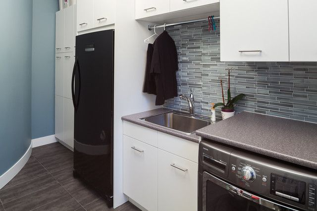 Charcoal Boomerang Installed Modern Laundry Rooms
