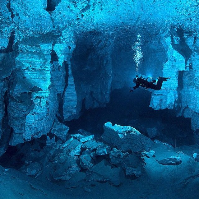 Not sure this will ever happens... but how incredible would be to dive here!  Orda Cave is a gypsum crystal cave found underneath the western Ural Mountains. The mouth is near the shore of the Kungur River just outside Orda, Perm Krai in Russia. The water is so clear, divers can see over 45 meters (50 yards) ahead of them #Top10