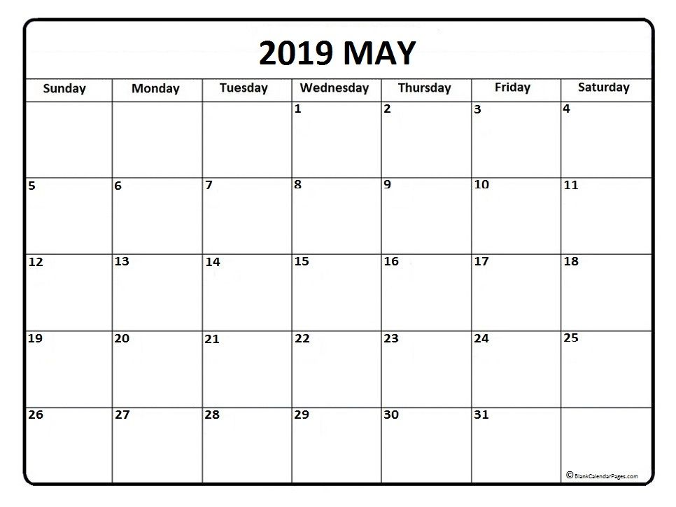Free May 2019 Printable Calendar Word Pdf With Holidays Editable