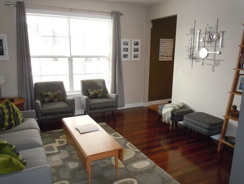Dark Hardwood Floors, Grey Walls, Cherry Furniture, White
