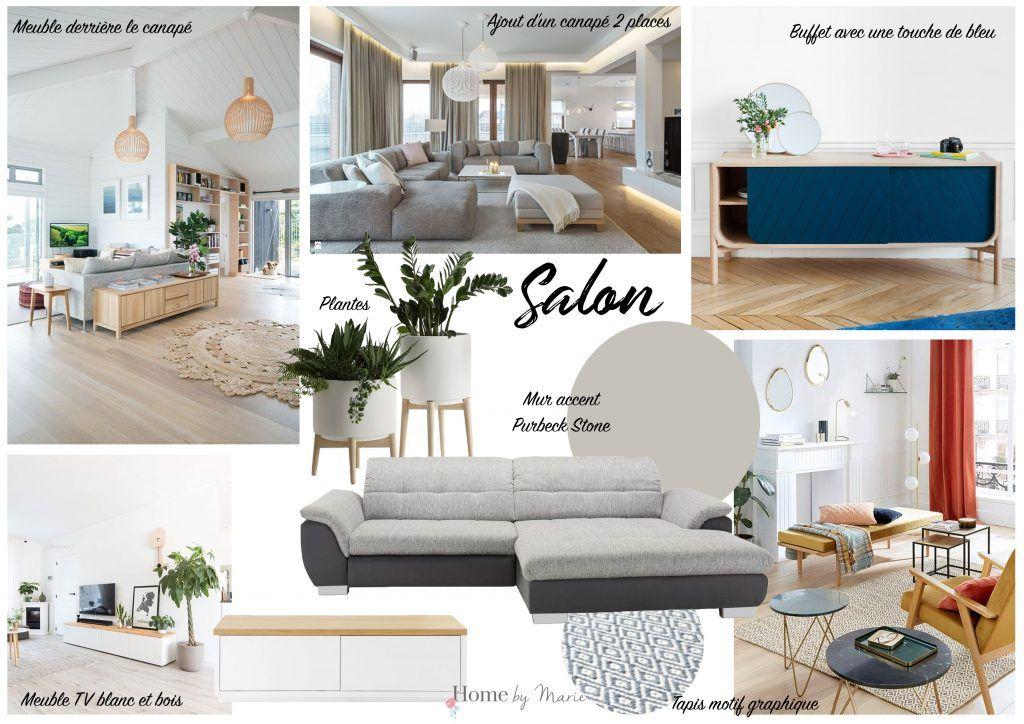 Moodboard Salon Decoration Cocooning Et Moderne Gris Bleu Et Blanc Et Bois Famille Moderne Maison De Famille Tapis Table Basse