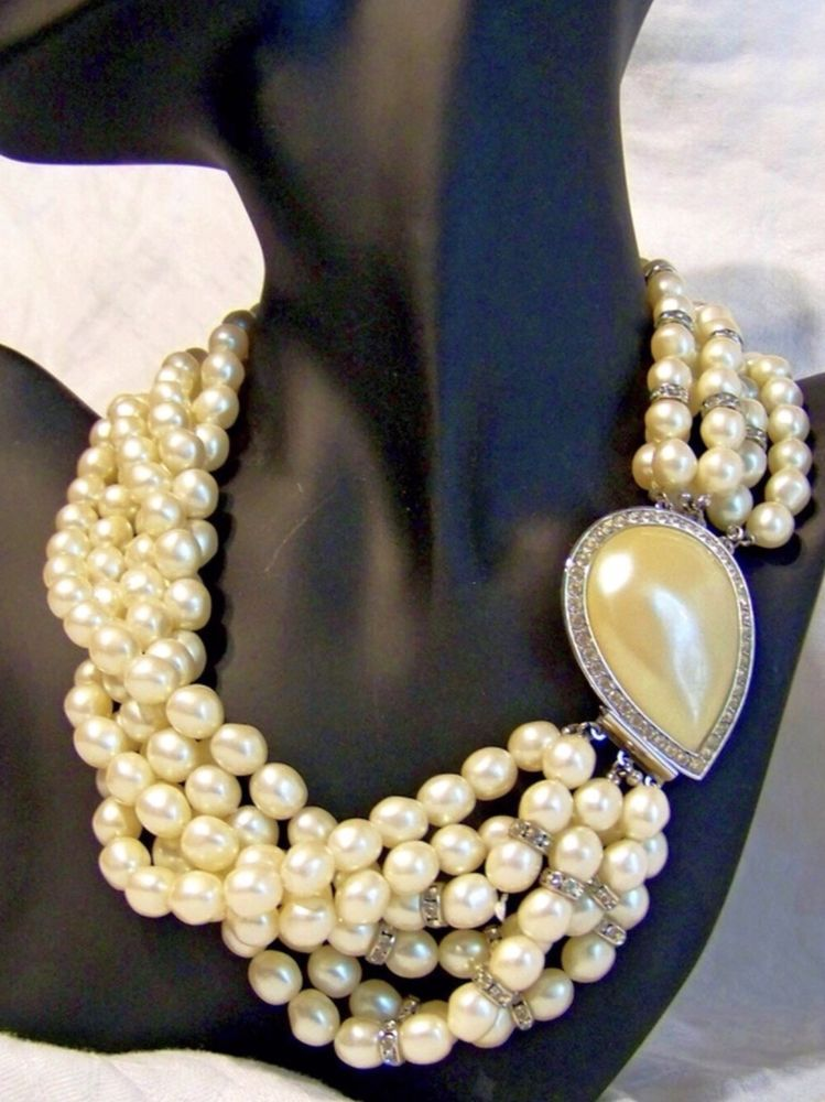 ac57a2c36bc Yves Saint Laurent Vintage 1980's Six Strand Faux Pearl & Rhinestone  Necklace | eBay