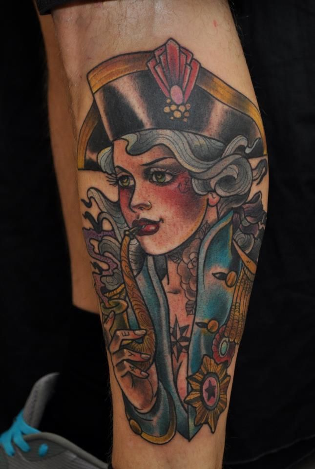 Pirate pin up girl smoking tattoo on leg for boys tattoo for Topless tattoo girls