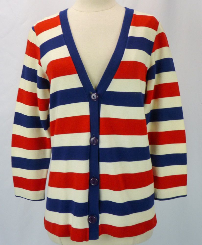 Vintage 60s Novelty Stripe Patriotic Red-White-Blue V-Neck ...