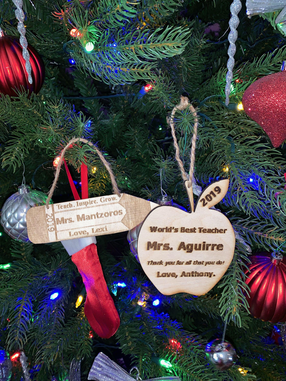 Laser Engraved Christmas Decoration For Teachers Christmas Tree Decorations Christmas Decorations Tree Decorations