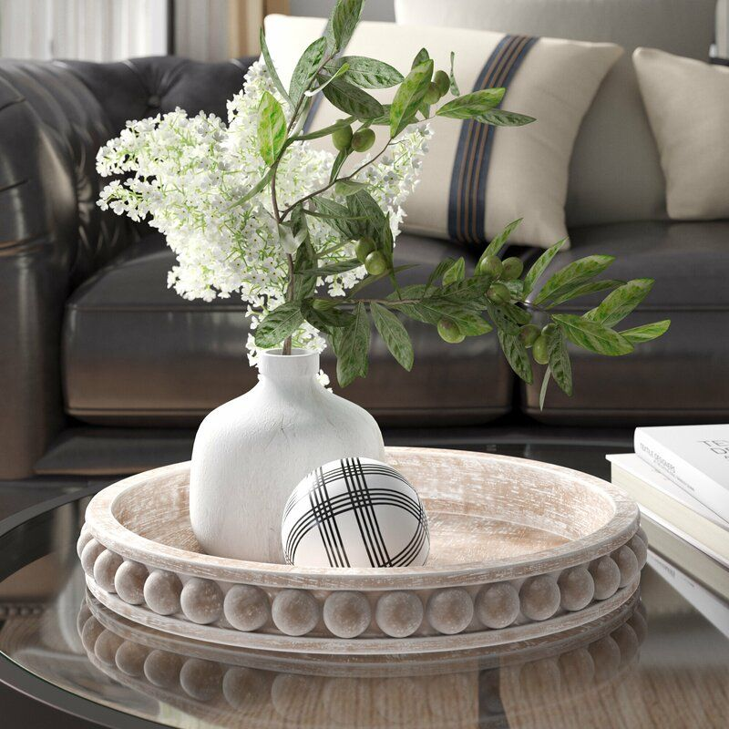 Crofton round wood coffee table tray in 2020 coffee