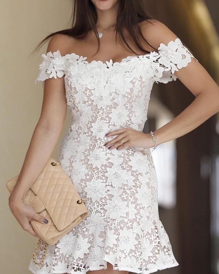 Off Shoulder Crochet Lace Pep Hem Mini Dress Women Lace Dress White Bandage Dress Lace Party Dresses
