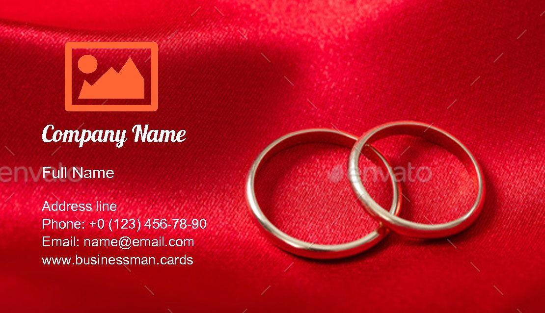 Create Online Golden Wedding Rings Business Card Template Card