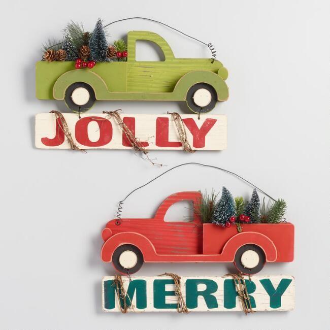 wood truck holiday signs set of 2  diy holiday decor